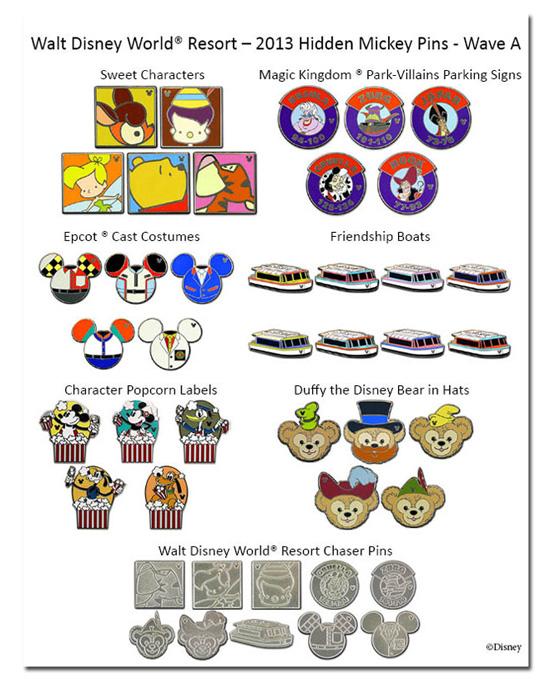 Hidden Mickey Pins 2013