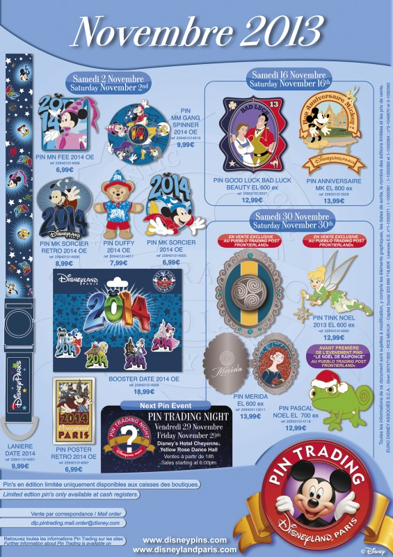 Disneyland Paris November Pins