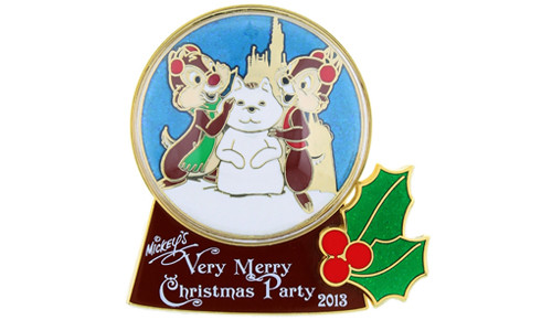 Chip & Dale snowglobe pin