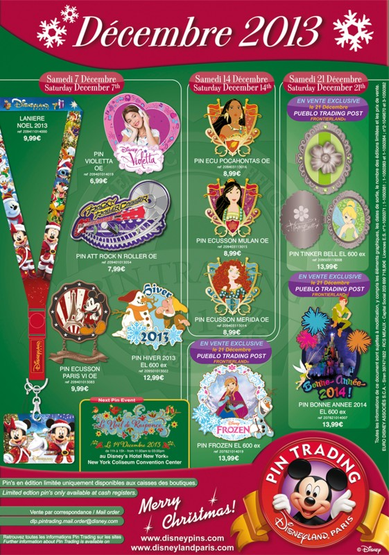 Disneyland Paris December 2013 Pins
