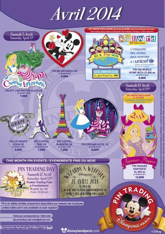 April 2014 Disneyland Paris Pins