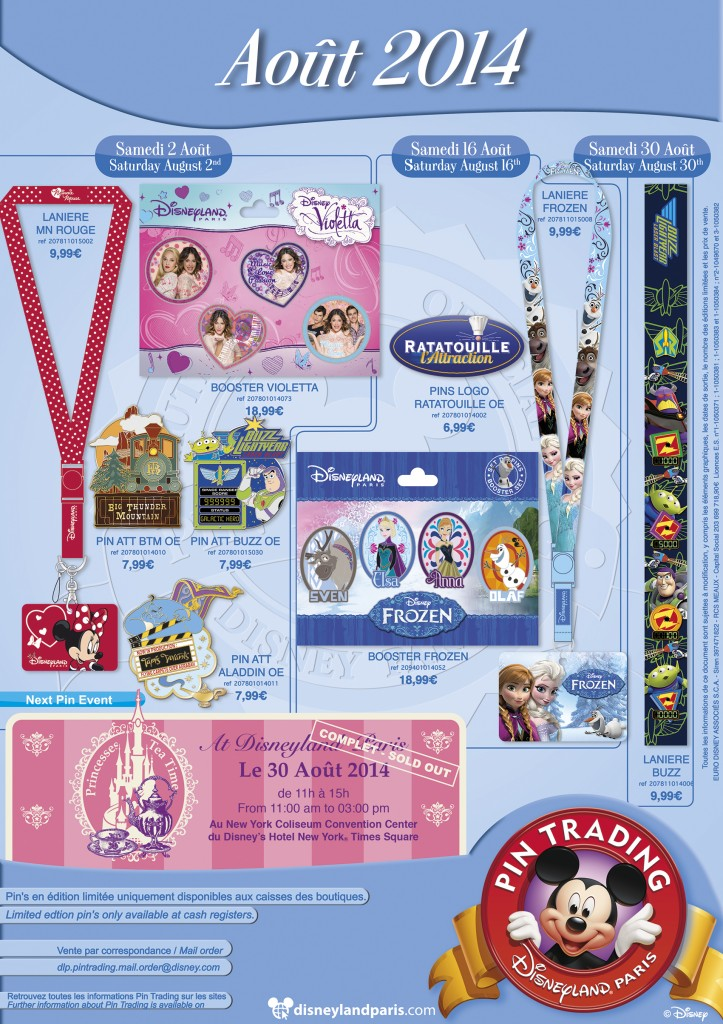 August 2014 Disneyland Paris Pins