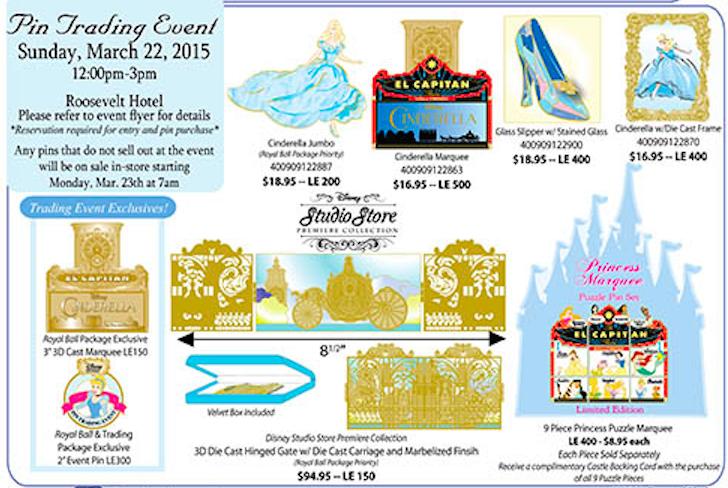 Cinderella PIn Trading Event Pins 2015 - Disney Studio Store Hollywood