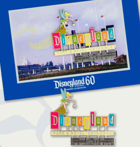 Disneyland Marquee Jumbo Pin Mini-Matted Lithograph