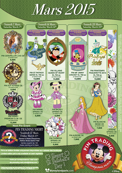 Disneyland Paris March 2015 Pins