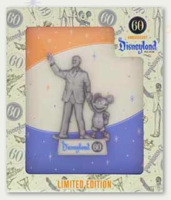 Walt Disney & Mickey Mouse 60th Jumbo Pin
